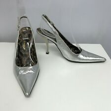 Dolce & Gabbana Leather Shoes Metallic Silver Tone Sexy Slingbacks Size 36