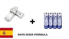 CARGADOR USB DE PILAS AA Y AAA + PACK 4 PILAS AAA RECARGABLES BTY 1000 MAH NI-MH