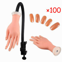 Practice False Hand Model for Nail Art Training and Display Manicure+100 Tips