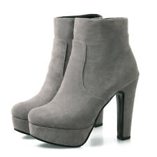 Women's Ankle Short Boots Platform Suede Zipper Chunky High Heel Booties US 6