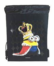 Minion Black Drawstring backpack School Sport Gym Tote Bags