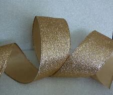 Superwide Gold Sparkle Xmas Ribbon Cakes Bows Wreath Wire Edge 1m Freepost