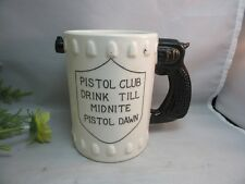 Vtg Pistol Club novelty gun handle coffe mug.Pistol Dawn joke. Gag gift
