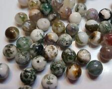 10 perles semi précieuses gemmes AGATES NATURELLES 8mm MOUSSE VERT MARRON //18