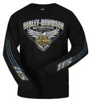 Harley-Davidson Men's 115th Anniversary Stripe Eagle Long Sleeve Shirt, Black