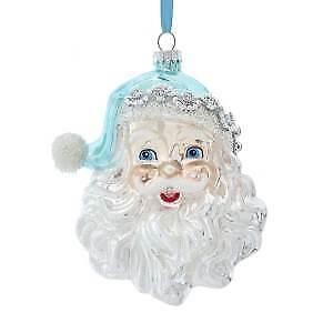 Glass Blue and Silver Santa Head Ornament w