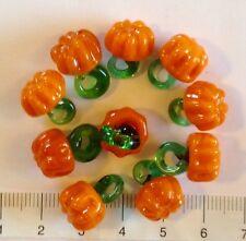 10 x orange, pumpkin, lampwork glass beads / pendants 15/16mm.  19 gms  51
