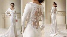 SPLENDID Twilight Bella Long-sleeves Wedding dress Bridal Gown Size:Custom