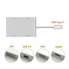 USB-C USB 3.1 Type-C to DVI HDMI VGA USB 3.0 Cable Adapter for Laptop & Notebook