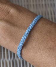 Bracelet brésilien amitié fil de coton ciré tresse porte bonheur Bleu ciel 21149