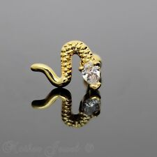 14K YELLOW GOLD PLATED SIMULATED DIAMOND SNAKE CARTILAGE TRAGUS HELIX BODY STUD
