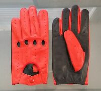 Two-Tone Unlined Leather Driving Gloves in Red and Black FREE SHIPPING