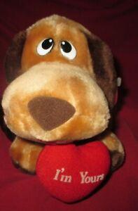 PLUSH I'M YOURS Brown HOUND DOG W/TAG VINTAGE RUSS #757 VALENTINES Puppy