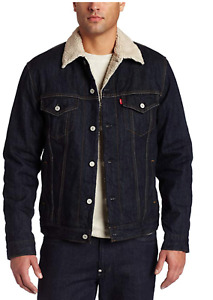 Levis Sherpa Denim Button Up Trucker Jacket Dark Blue Rinse 705980027