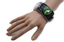 Women Black Leather Western Bling Bracelet Fashion Green Heart Pink Beads Charms