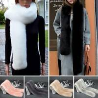 Lady Women Scarves & Shawls Faux Fur long Collar Scarf Fluffy Winter Wrap Stole