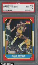 1986 Fleer #53 Magic Johnson RC Rookie Lakers PSA 8 NM-MT