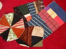 Lot 4 True Vtg 40s Quilt Pillow Fabric Corduroy Cotton Pieces