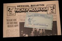 Walt Disney Mickey Mouse Club Membership Card with Official Bulletin 1932 2005