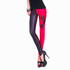 Harley Quinn Leggings Printed Red and Black Stretchy UK Size 6/8/10/12