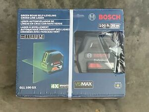 Bosch GLL 100 GX Green-Beam Self-Leveling Cross-Line Laser Level NEW