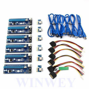 6X Relper-Lineso 2020 PCIe VER 006 PCI-E 1X to 16X Powered Riser Adapter Card.