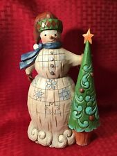 Jim Shore Folklore Snowman Holding Christmas Tree Heartwood Creek New With Tag
