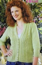 KNITTING PATTERN Ladies Western Style Cardigan Textured 3//4 Sleeved Patons DK