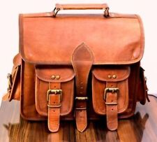 Genuine Leather Vintage Lock Laptop Backpack Rucksack Messenger Bag Satchel New