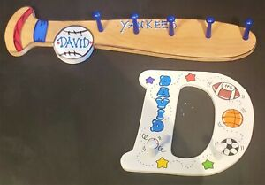 Kid's Room Customized Coat / Clothes Hangers Baseball Bat and Letter D - YANKEES