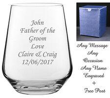 Personalised Engraved Whiskey Brandy Tumbler Glass Wedding Groom Gift