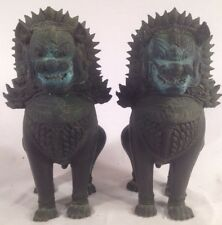 Antique Pair Cast Heavy Metal Guardian FOO Dogs Foodogs Lot of 2 Vintage Patina