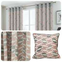 Fusion COPELAND Pink Grey Geometric Eyelet Ring Top Ready Made Curtains Cushions