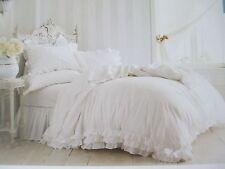 New Rachel Ashwell SIMPLY SHABBY CHIC 3pc White Ruffle Lace Duvet Set - King