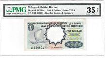 MALAYA BRITISH BORNEO 1959 $1 DOLLAR PMG35 PICK #8A VERY FINE S/N A/92 BANKNOTE