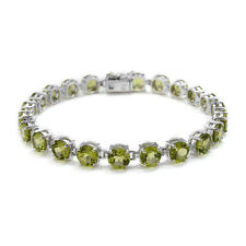 Green Peridot (Rnd) Bracelet in Sterling Silver Nickel Free (7.5 in)  22.08 Cts