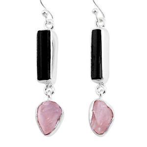 Halloween Sale 13.87cts Rose Quartz Black Tourmaline Raw Dangle Earrings R93739
