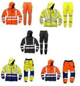 Hi Vis High Visibility Mens Tracksuit Zip Hoodie & Jogging Bottom Safety Work
