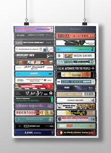 90's Music Poster: Original Cassette Print, 1990s Art, Gift, Fan, Britpop, Indie
