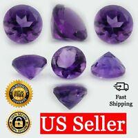 Loose Round Cut Genuine Natural Amethyst Stone Single Purple Birthstone Shape