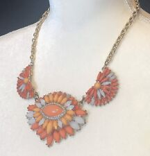 vintage mika statement necklace orange peach pink 19""