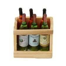 Puppenhaus Zubehör Mini 6 Weinflaschen mit Holzrahmen neu