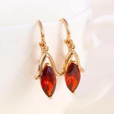 18k ct Rose Gold GF Elegant Eardrops Red rhinestone zircon Earring