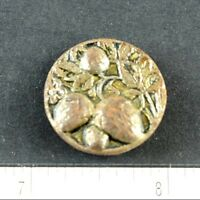 Vintage Victorian Lovely Strawberries Leaves Brass Button Fab Figural Fruit