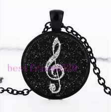 Black Diamond musical note Cabochon Glass Black Chain Pendant Necklace