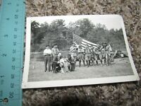 Boy scouts with American Flag White and African American Photograph Photo