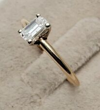 WOMEN Si12 1/2 .50 CT EMERALD CUT SOLITAIRE GENUINE DIAMOND 14K YELLOW GOLD RING