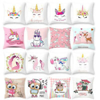 Cartoon Unicorn & Owl Print Sofa Cushion Cover Throw Pillow Case Home Decoration