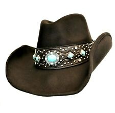 Montana West Hat Turquoise Concho Cowgirl  Western Hat Large Coffee