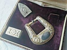 Vtg Corpus Christi Texas Ladies Small Sterling Silver Western Belt Buckle Set